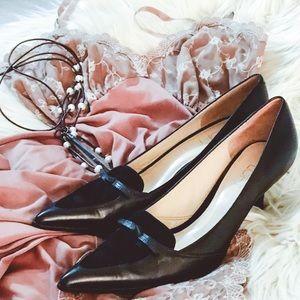ANN TAYLOR LOFT Black Leather Pumps Heels